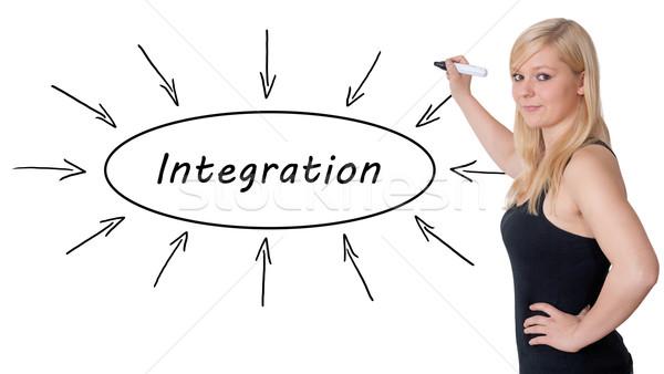 Integratie jonge zakenvrouw tekening informatie Stockfoto © Mazirama
