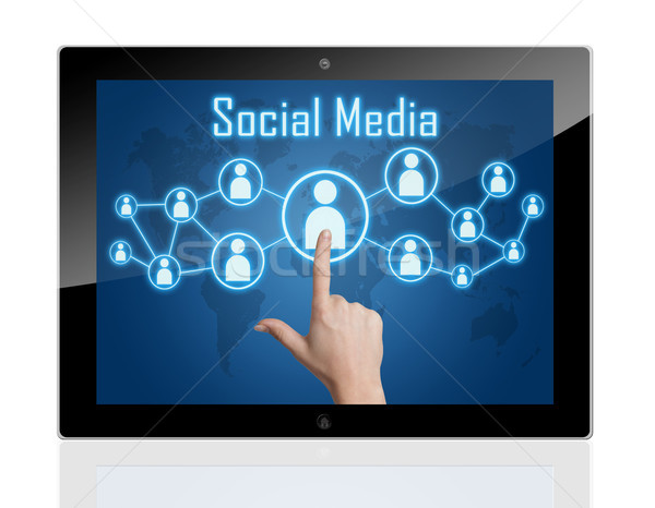 Stok fotoğraf: Tablet · sosyal · medya · el · ikon