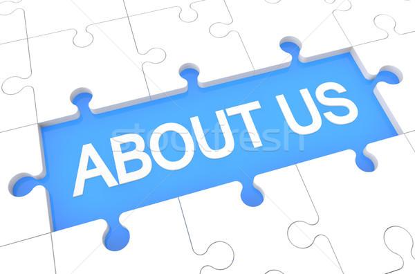 Over ons puzzel 3d render illustratie woord Blauw Stockfoto © Mazirama