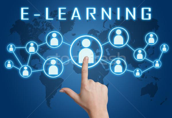 Online oktatás kéz kisajtolás társasági ikonok kék Stock fotó © Mazirama