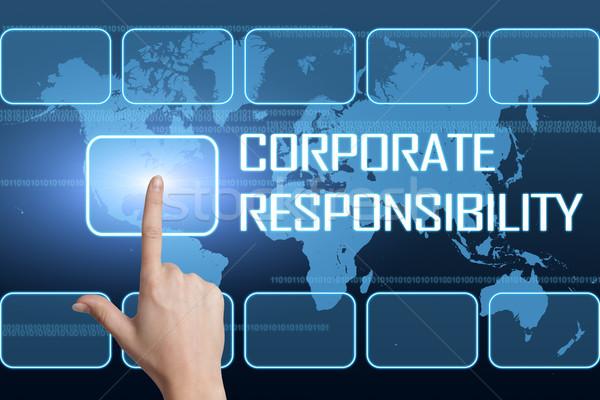Corporate responsabilità interfaccia mappa del mondo blu mondo Foto d'archivio © Mazirama