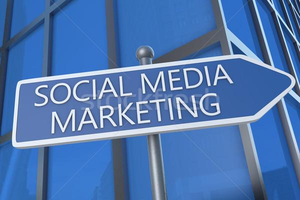 Közösségi média marketing illusztráció jelzőtábla irodaház hálózat Stock fotó © Mazirama