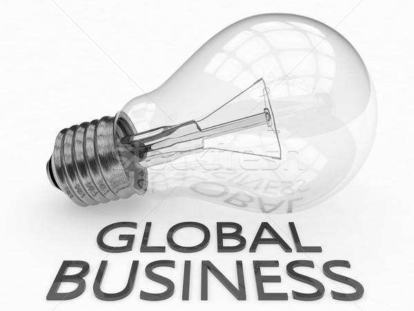 Negocio global bombilla blanco texto 3d ilustración Foto stock © Mazirama