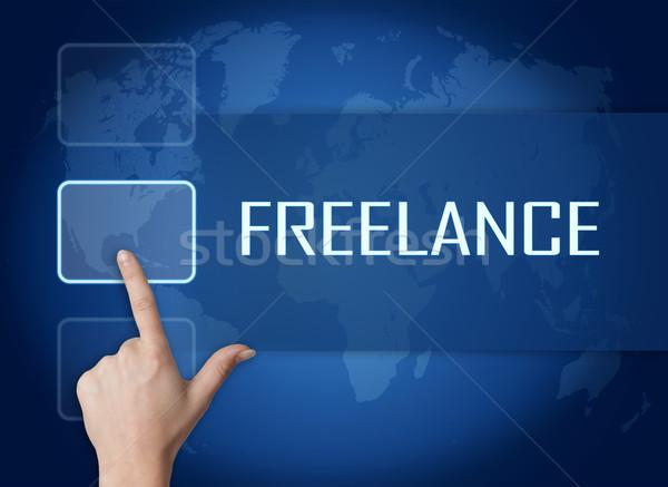 Freelance interface wereldkaart Blauw business werk Stockfoto © Mazirama