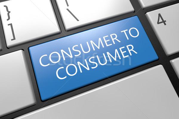 Consument toetsenbord 3d render illustratie woord Blauw Stockfoto © Mazirama