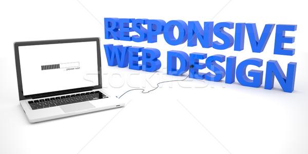 Duyarlı web tasarım dizüstü bilgisayar defter bilgisayar kelime Stok fotoğraf © Mazirama