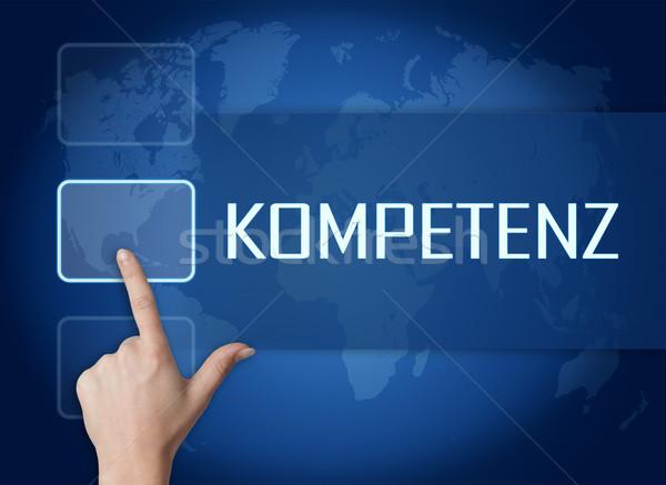 Palavra competência interface mapa do mundo azul comunicação Foto stock © Mazirama