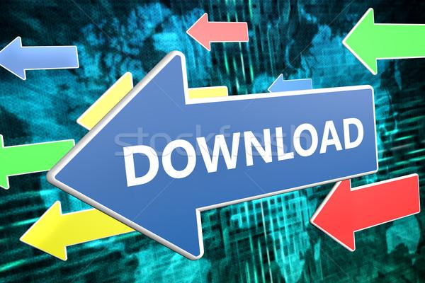 Download testo blu arrow battenti verde Foto d'archivio © Mazirama