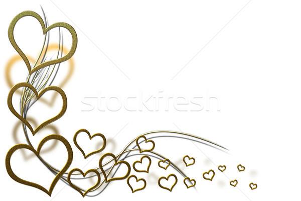 Sevgililer günü kart tasarımlar altın kalpler Stok fotoğraf © Mazirama