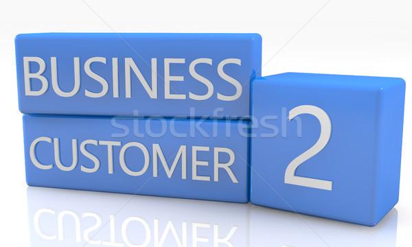 Iş müşteri 3d render mavi kutu beyaz Stok fotoğraf © Mazirama