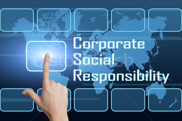 Kurumsal sosyal sorumluluk arayüz dünya haritası mavi Stok fotoğraf © Mazirama