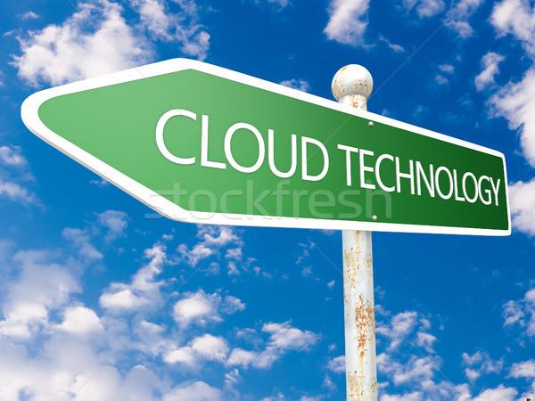 Felhő technológia jelzőtábla illusztráció kék ég felhők Stock fotó © Mazirama