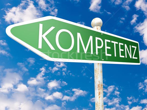 Woord competentie straat teken illustratie blauwe hemel wolken Stockfoto © Mazirama