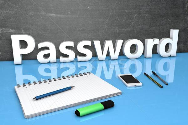 Mot de passe texte tableau portable stylos téléphone portable Photo stock © Mazirama