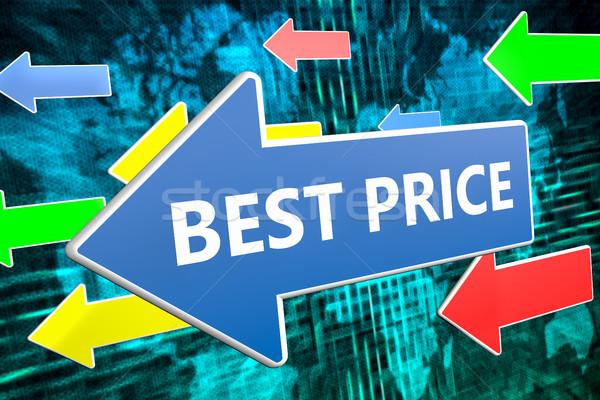 Beste prijs tekst Blauw pijl vliegen groene Stockfoto © Mazirama