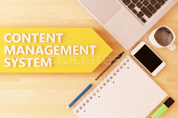 Contenu gestion linéaire texte flèche portable Photo stock © Mazirama