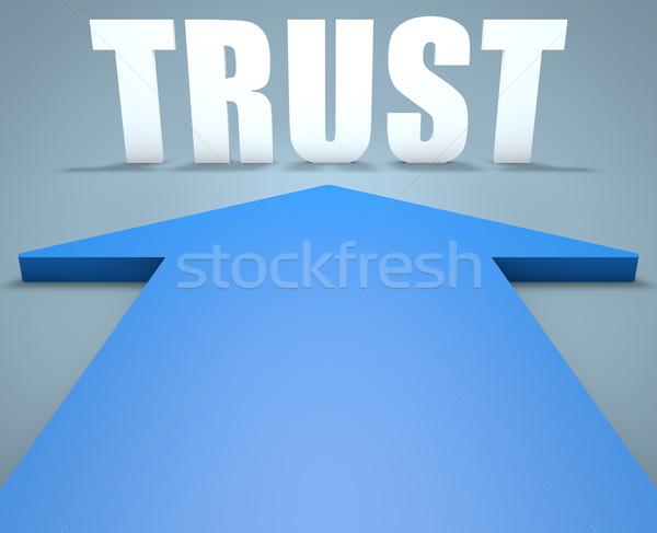 доверия 3d визуализации синий стрелка указывая безопасности Сток-фото © Mazirama