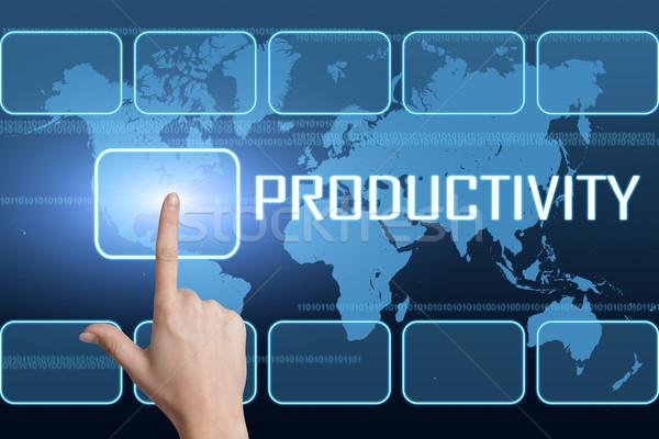 Produtividade interface mapa do mundo azul negócio trabalhar Foto stock © Mazirama