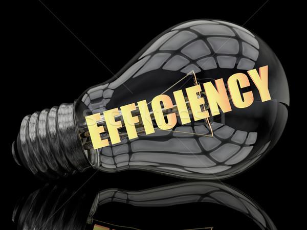 Hatásfok villanykörte fekete szöveg 3d render illusztráció Stock fotó © Mazirama
