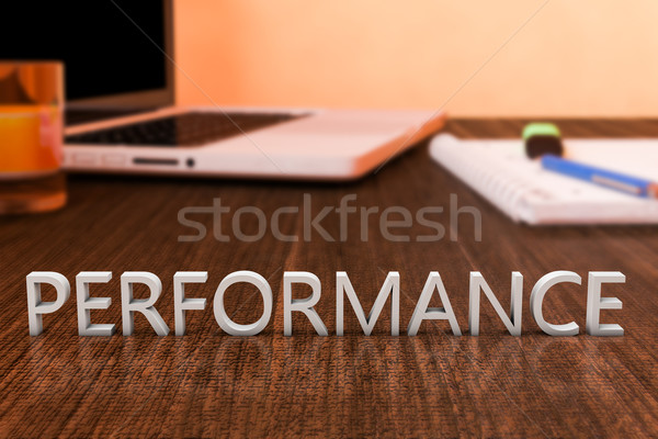 Performances lettres bois bureau ordinateur portable portable Photo stock © Mazirama
