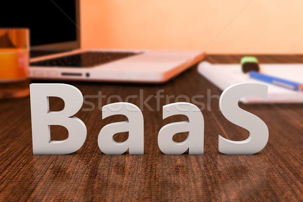 バックアップ サービス 文字 木製 デスク ラップトップコンピュータ ストックフォト © Mazirama