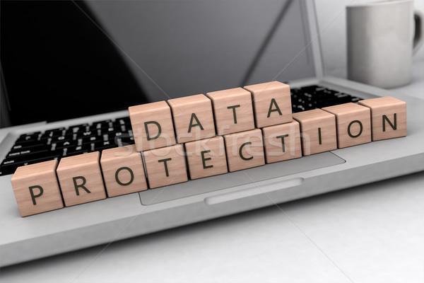 データ保護 文字 木製 文字 ノートブック コンピュータ ストックフォト © Mazirama