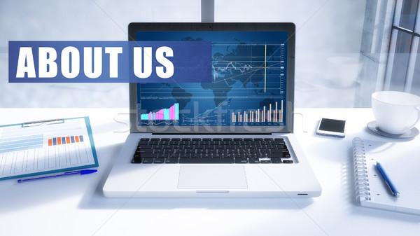 ストックフォト: 私達について · 文字 · 現代 · ノートパソコン · 画面 · オフィス