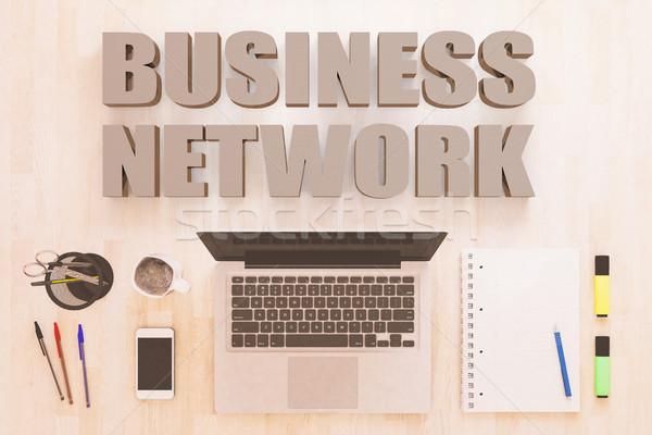 Zdjęcia stock: Business · network · tekst · notebooka · komputera · smartphone · długopisy