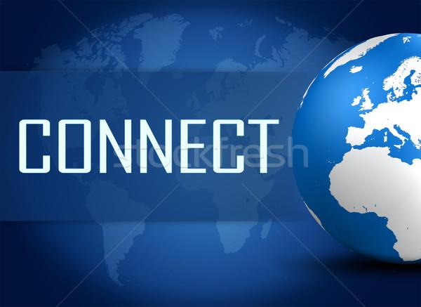 Stockfoto: Verbinding · wereldbol · Blauw · wereldkaart · computer · technologie