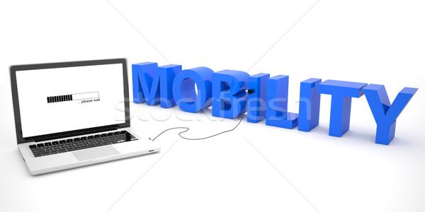 Ruchliwość laptop słowo biały 3d ilustracja Zdjęcia stock © Mazirama