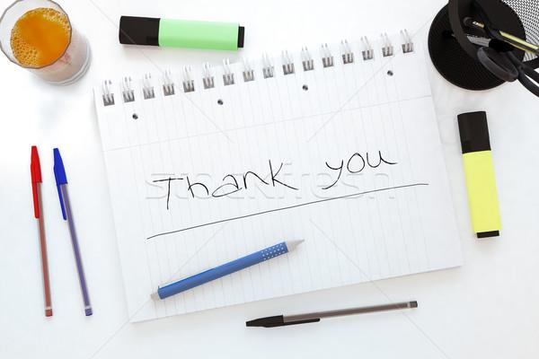 Köszönjük kézzel írott szöveg notebook asztal 3d render Stock fotó © Mazirama