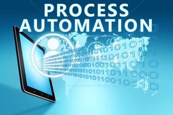 Folyamat automatizálás illusztráció táblagép kék építkezés Stock fotó © Mazirama