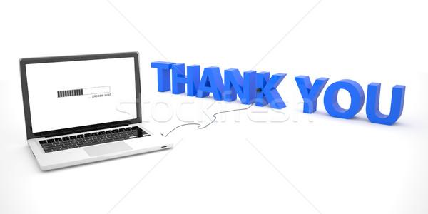 Köszönjük laptop notebook számítógép szó fehér Stock fotó © Mazirama