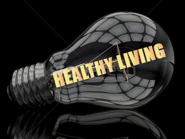 Gezond leven gloeilamp zwarte tekst 3d render illustratie Stockfoto © Mazirama