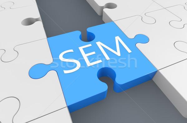 Keresőmotor marketing puzzle 3d render illusztráció piac Stock fotó © Mazirama