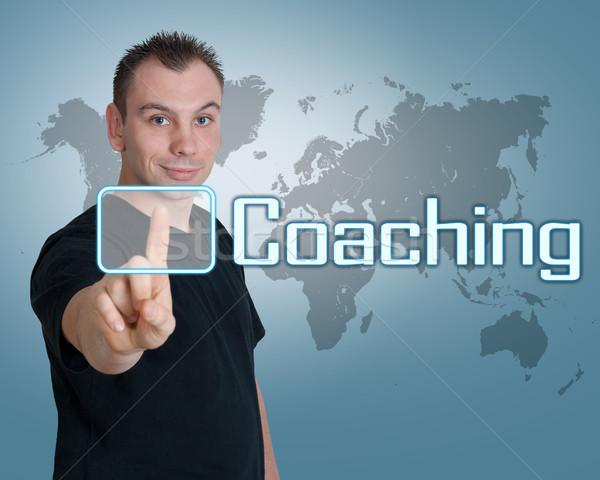 コーチング 若い男 キーを押します デジタル ボタン インターフェース ストックフォト © Mazirama