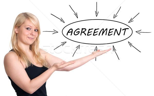 соглашение молодые деловая женщина процесс информации изолированный Сток-фото © Mazirama
