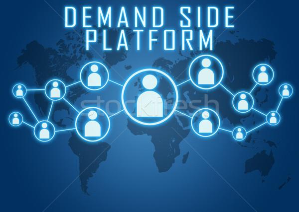 Nachfrage Seite Plattform blau Weltkarte sozialen Stock foto © Mazirama
