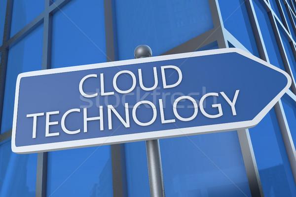Felhő technológia illusztráció jelzőtábla irodaház hálózat Stock fotó © Mazirama