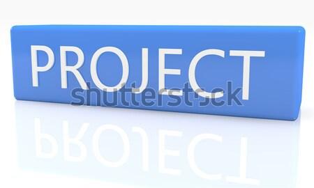 Költségvetés 3d render kék doboz szöveg fehér Stock fotó © Mazirama