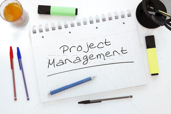 Projeto gestão texto caderno secretária Foto stock © Mazirama