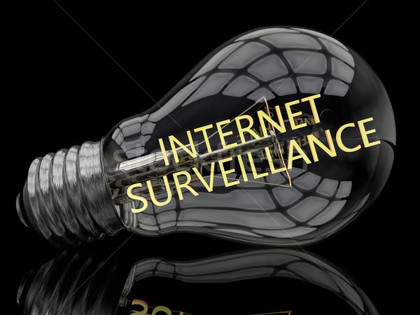 Internetu inwigilacja żarówka czarny tekst 3d Zdjęcia stock © Mazirama