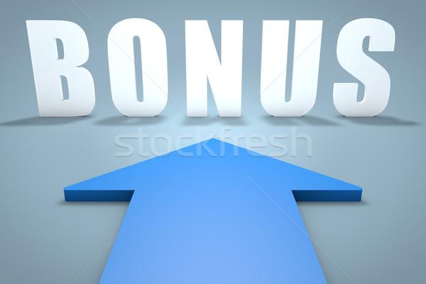 Bonus 3d render Blauw pijl wijzend teken Stockfoto © Mazirama