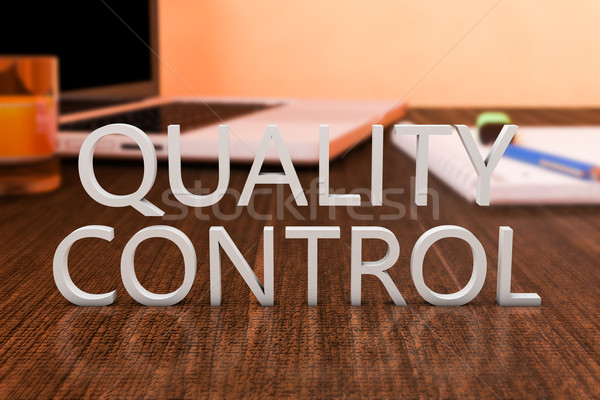 Contrôle de la qualité lettres bois bureau ordinateur portable portable Photo stock © Mazirama