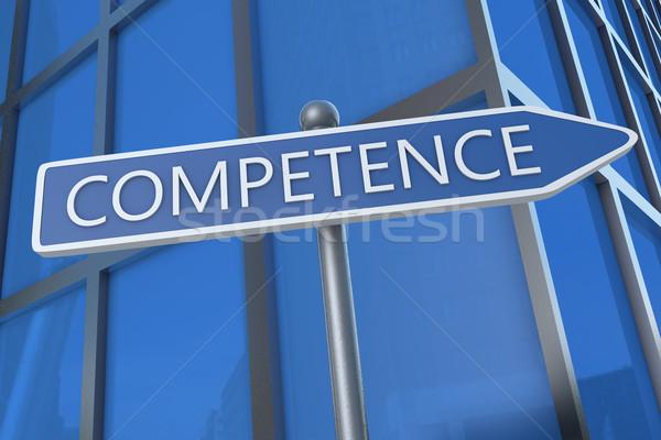Competência ilustração placa de rua prédio comercial comunicação conceito Foto stock © Mazirama