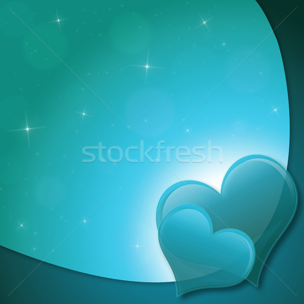 Stok fotoğraf: Sevgililer · günü · kart · kalpler · Yıldız · yeşil · sevmek