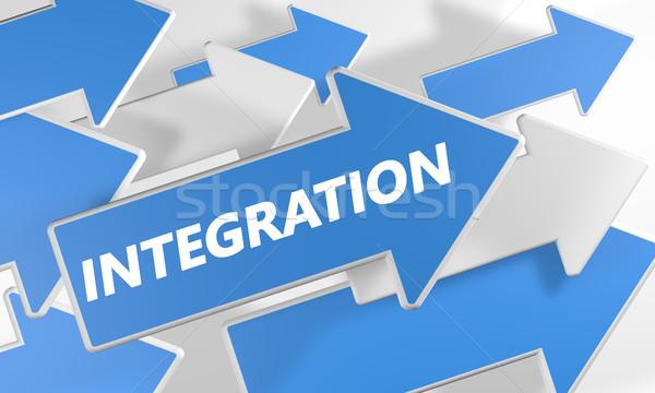 Foto stock: Integración · 3d · azul · blanco · flechas · vuelo