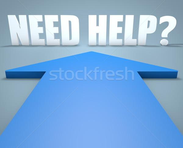 Szükség segítség 3d render kék nyíl mutat Stock fotó © Mazirama