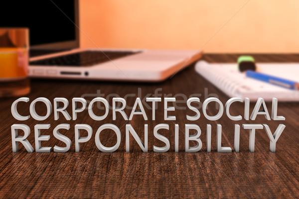 Corporate sociale responsabilità lettere legno desk Foto d'archivio © Mazirama