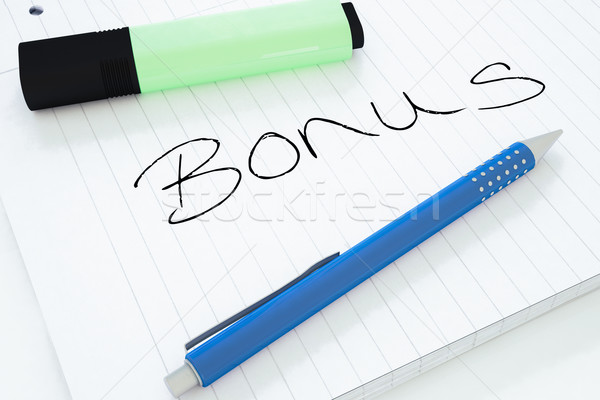 Stockfoto: Bonus · tekst · notebook · bureau · 3d · render